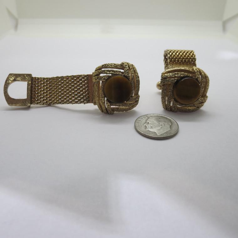 Golden tone and Beige Cufflinks (100788)