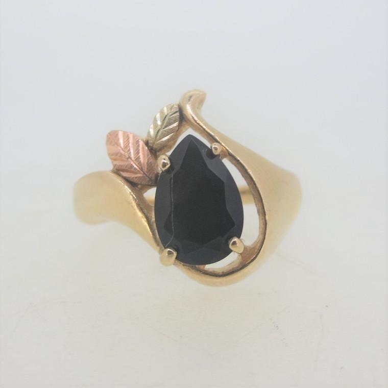 Vintage 10k Yellow & Black Hills Gold Coleman Pear Cut Black Onyx Ring Size 6