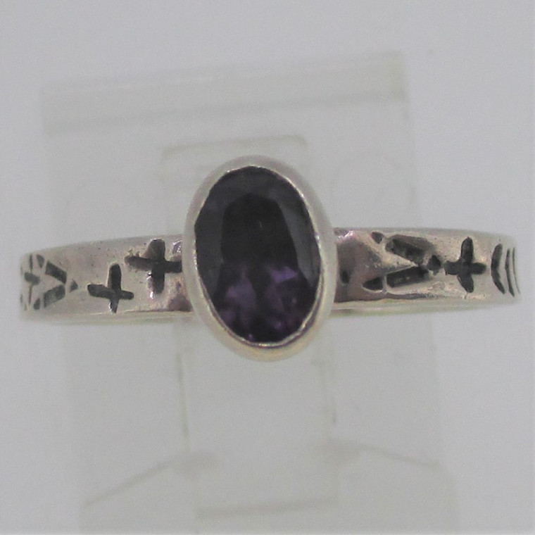 Faceted Oval Amethyst Sterling Silver Ring Size 5.75