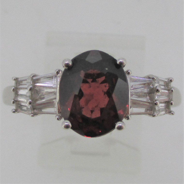 Oval Garnet and Tapered Baguette CZ Sterling Silver Ring Size 11.25