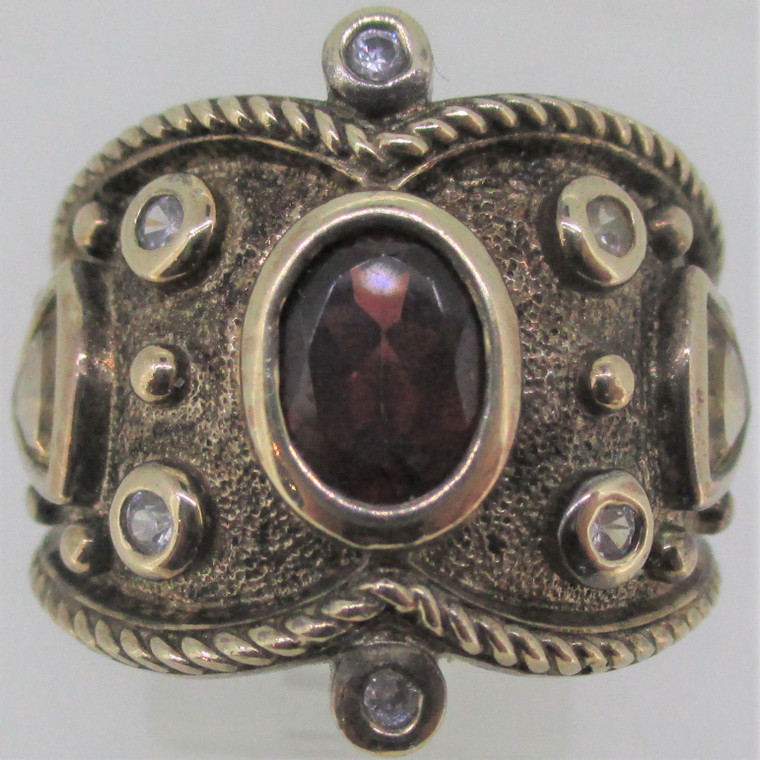 Oval Garnet and Trillion Citrine Sterling Silver Gold Overlay Ring Size 7.75