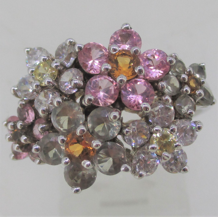 Colored CZ Arranged in Flower Shapes Sterling Silver Ring Size 8.5