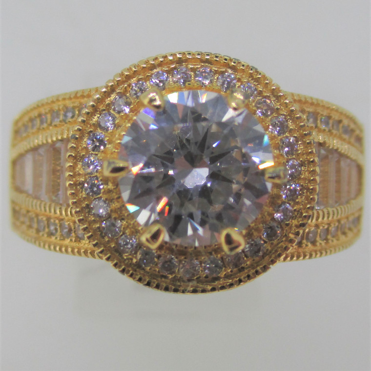 Round CZ Stone with CZ Border Sterling Silver Gold Overlay Ring Size 12