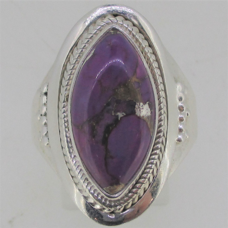 Cabochon Purple Stone With Matrix Sterling Silver Ring Size 12