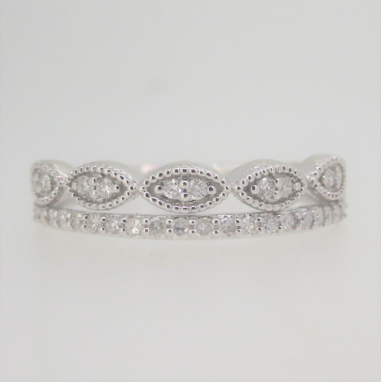 10k White Gold Double Row .25ct TW Diamonds Pave Stackable Band Ring Size 7