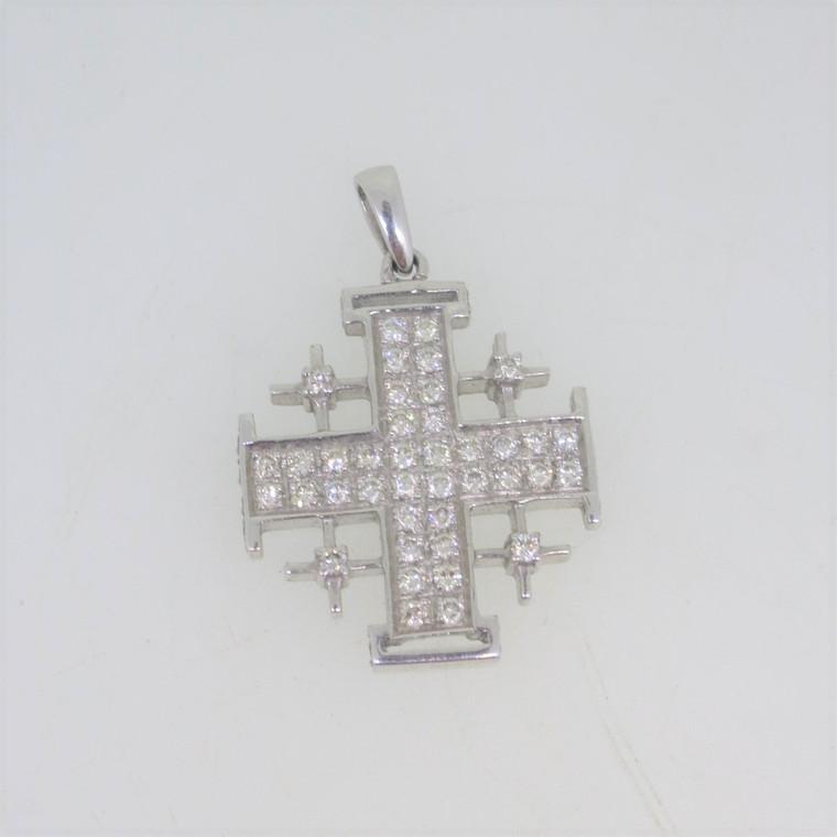 18k White Gold .72ct TW Diamond Pave Jerusalem Cross Pendant