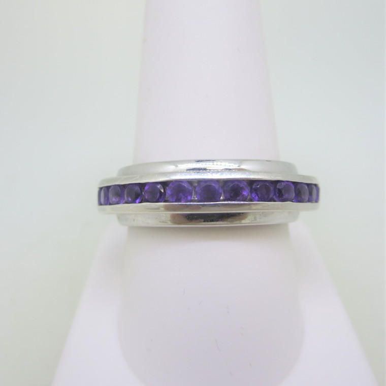 Sterling Silver Amethyst Spinner Ring Marked China Size 10