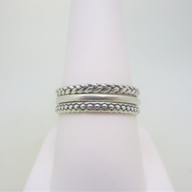 Sterling Silver PZ Israel Stackable Rings with Braided and Beaded Look Size 9 1/4