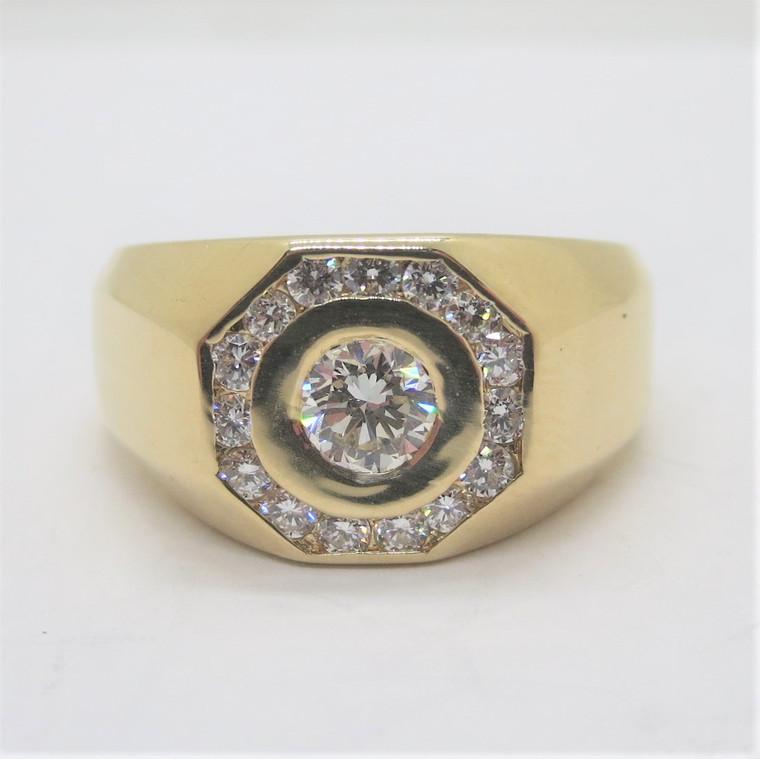14k Yellow Gold Men's Approx 1/2ctTW Diamond Octagonal Halo Fashion Ring Sz 12.5