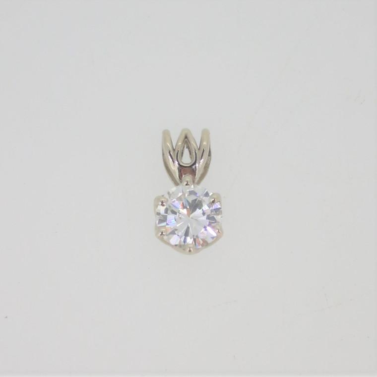 14k White Gold .40ct Round Brilliant Solitaire Diamond Pendant