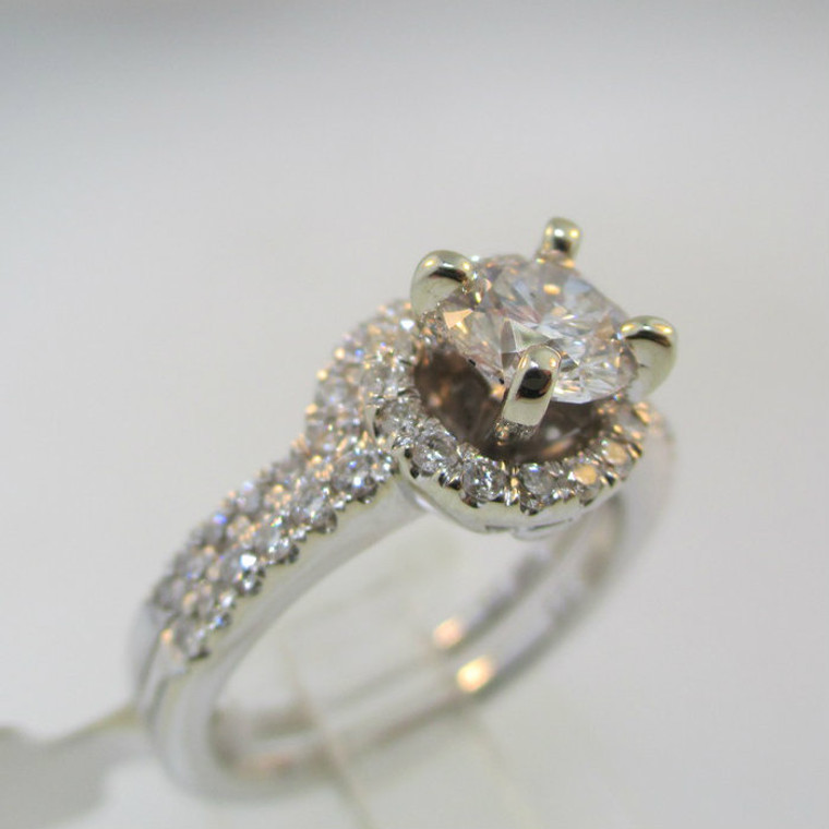 14k White Gold Approx 1.32ct TW Round Brilliant Cut Diamond Halo Ring with Wedding Band Size 6 3/4