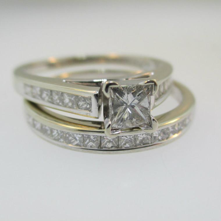 14k White Gold Approx 1/3ct Princess Cut Diamond Ring with Diamond Band Size 6 1/4