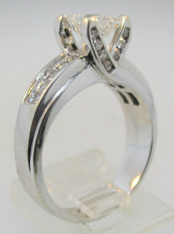 14k White Gold 1.01ct Square Modified Brilliant Cut Diamond Ring Size 7*