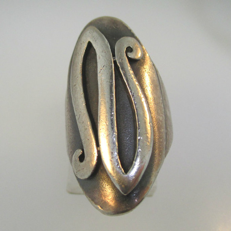 Vintage Sterling Silver Signet Initial N Ring Size 5 1/4