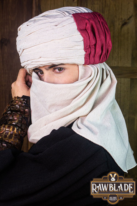 Vaishir turban White and Bordeaux by [product_brand] for €96.8 | Shop on Avothea Store