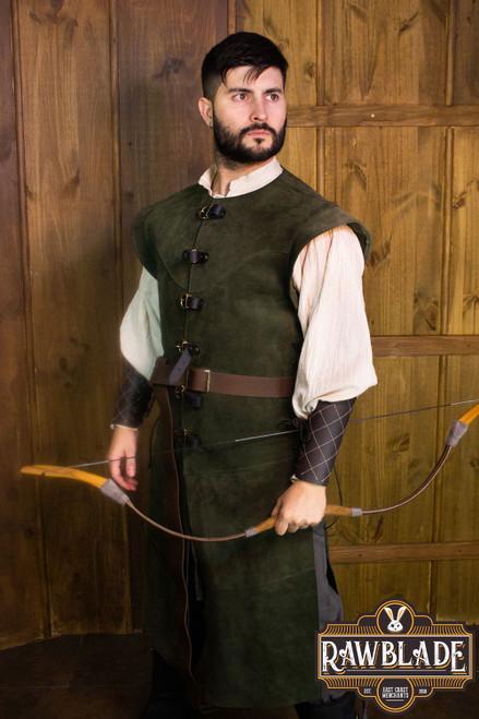 Jules long Leather Jerkin - Green
