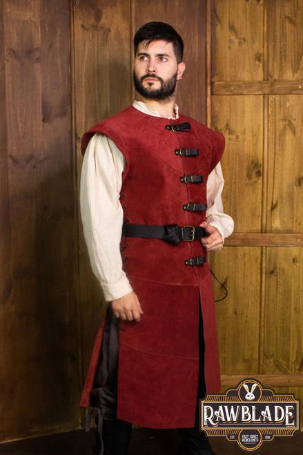 Jules long Leather Jerkin - Red