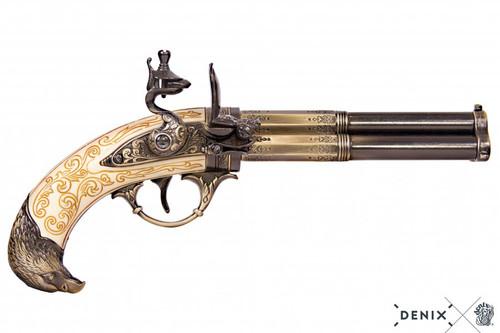 Denix Revolving 3 Barrel Flintlock Pistol - Ivory Eagle - France - XVIII