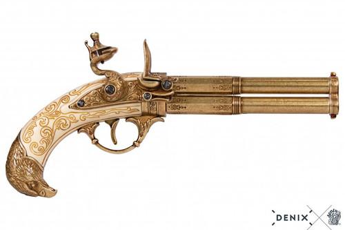 Denix Revolving 2 Barrel Flintlock Pistol - Ivory - France - XVIII