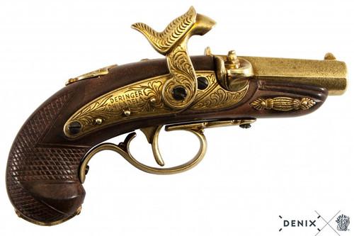 Denix Philadelphia Percussion Deringer Pistol - Gold - USA - 1862