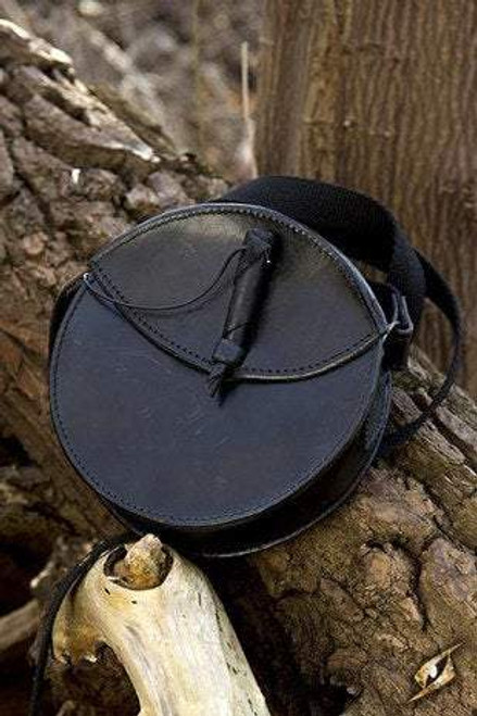 Round Leather Bag - Black