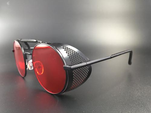 Steampunk bril Scherlock - zwart/rood