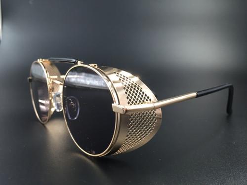 Steampunk bril Scherlock - goud/zwart