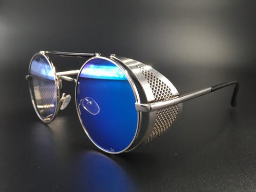 Steampunk bril Scherlock - zilver/blauw