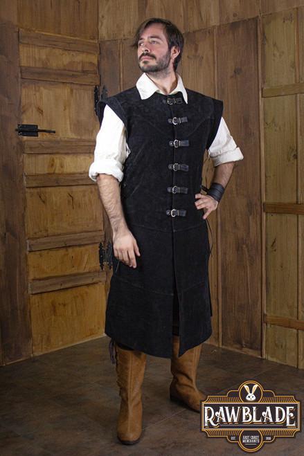 Jules long Leather Jerkin - Black
