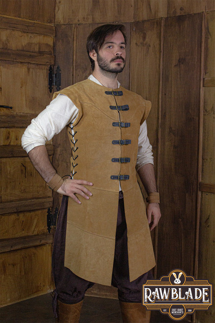 Jules long Leather Jerkin - Light brown