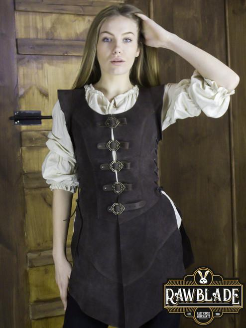 Julienne Leather  Jerkin Long - Brown