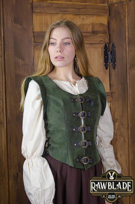 Julienne Leather Jerkin Short - Green