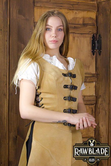 Julienne Leather  Jerkin Long -Light Brown