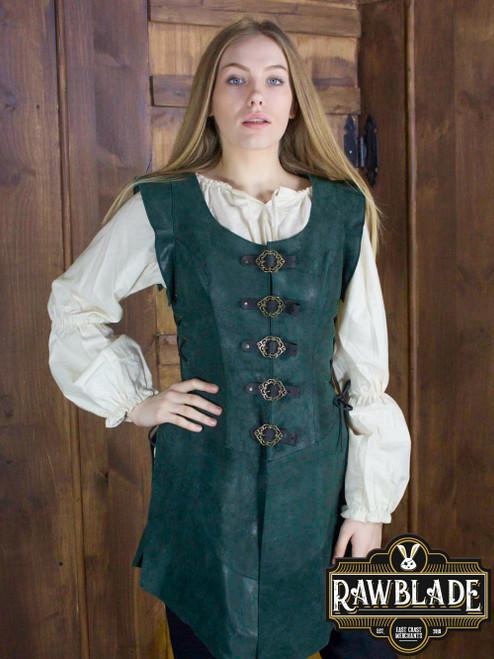 Julienne Leather  Jerkin Long - Green
