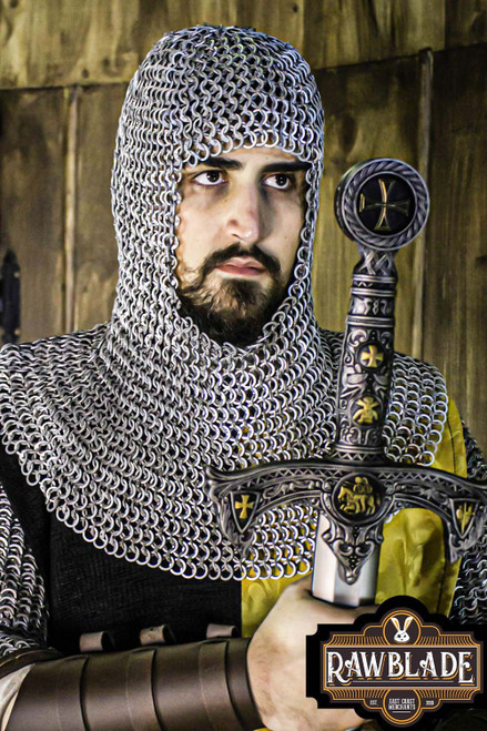 Normandy Chainmail Coif Aluminium - Flat Ring Riveted