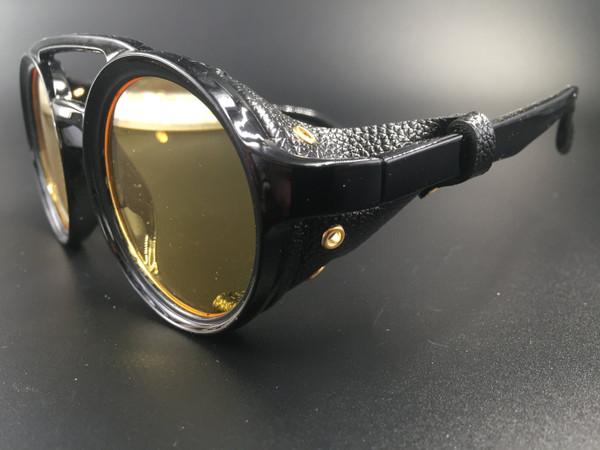 Steampunk bril Helsing - zwart/geel