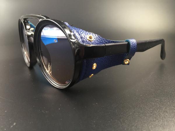 Steampunk bril Helsing - zwart/blauw