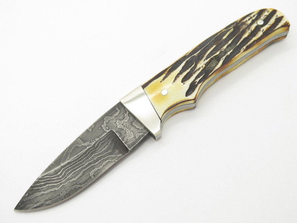 BEAR & SON CUTLERY 548D FIXED BLADE DAMASCUS DROP POINT HUNTING KNIFE