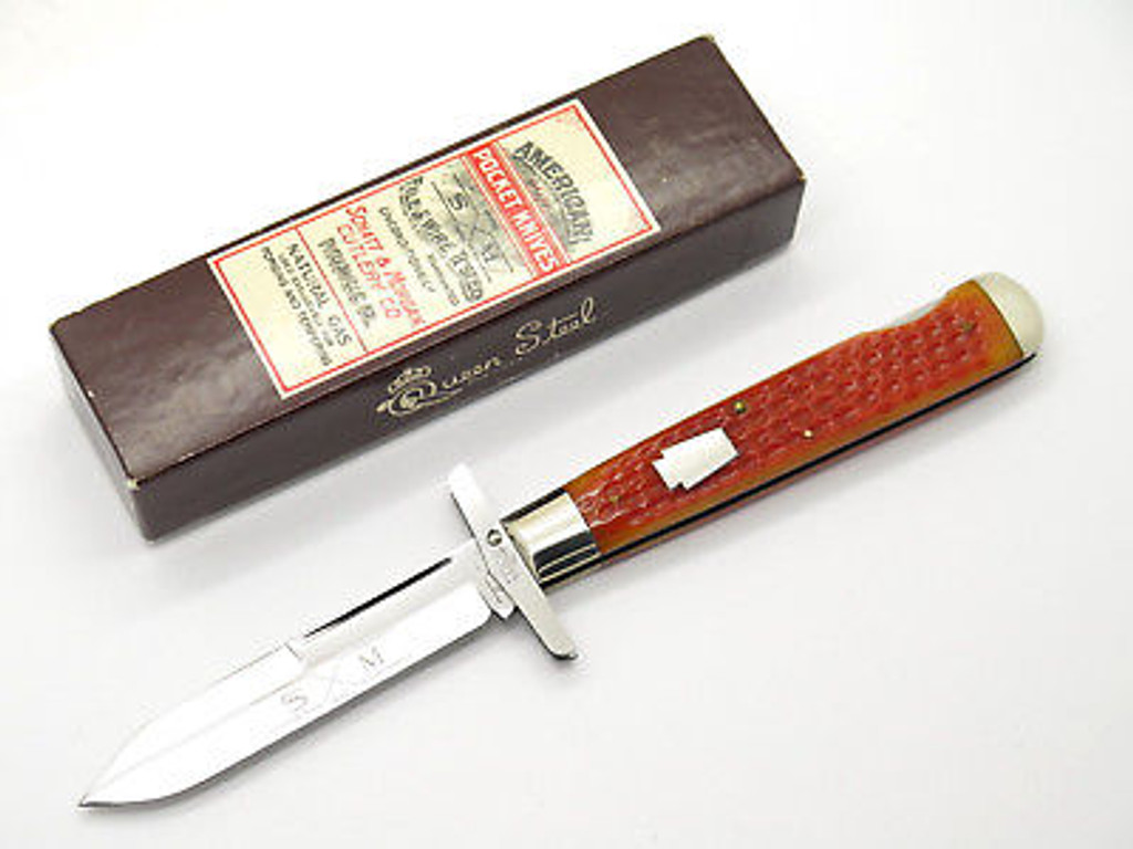 1994 QUEEN 04191L CLASSIC CHEETAH STYLE SWING GUARD FOLDING KNIFE & CASE