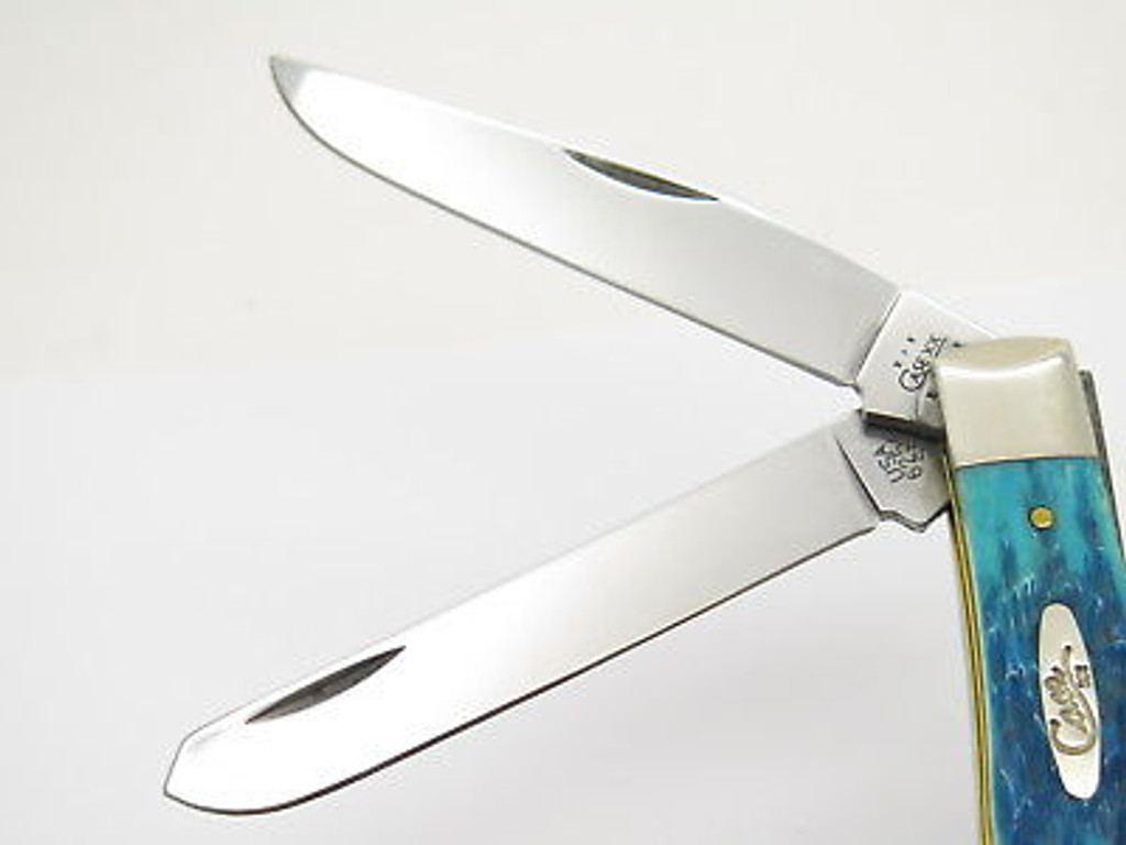 2004 CASE XX 6254 TRAPPER CARIBBEAN BLUE BONE FOLDING POCKET KNIFE
