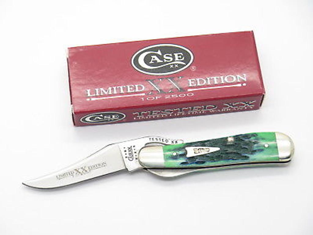 2001 LIMITED CASE XX 61953 BLUEGRASS GREEN RUSSLOCK FOLDING POCKET KNIFE