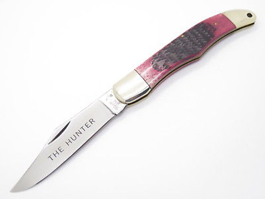 1980s HONEST ABE PARKER SEKI JAPAN RED BONE LARGE FOLDING HUNTER KNIFE