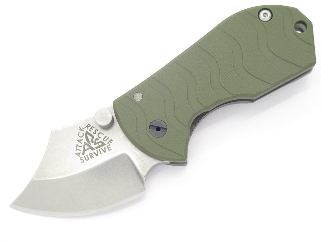 ARS ATTACK RECUE SURVIVE CUSTOM FLIP SHANK TITANIUM FRAMELOCK KNIFE 154CM GREEN