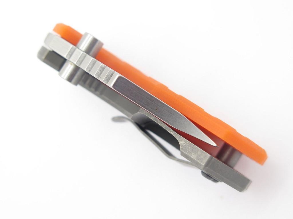 ARS ATTACK RECUE SURVIVE CUSTOM FLIP SHANK TITANIUM FRAMELOCK KNIFE 154CM ORANGE