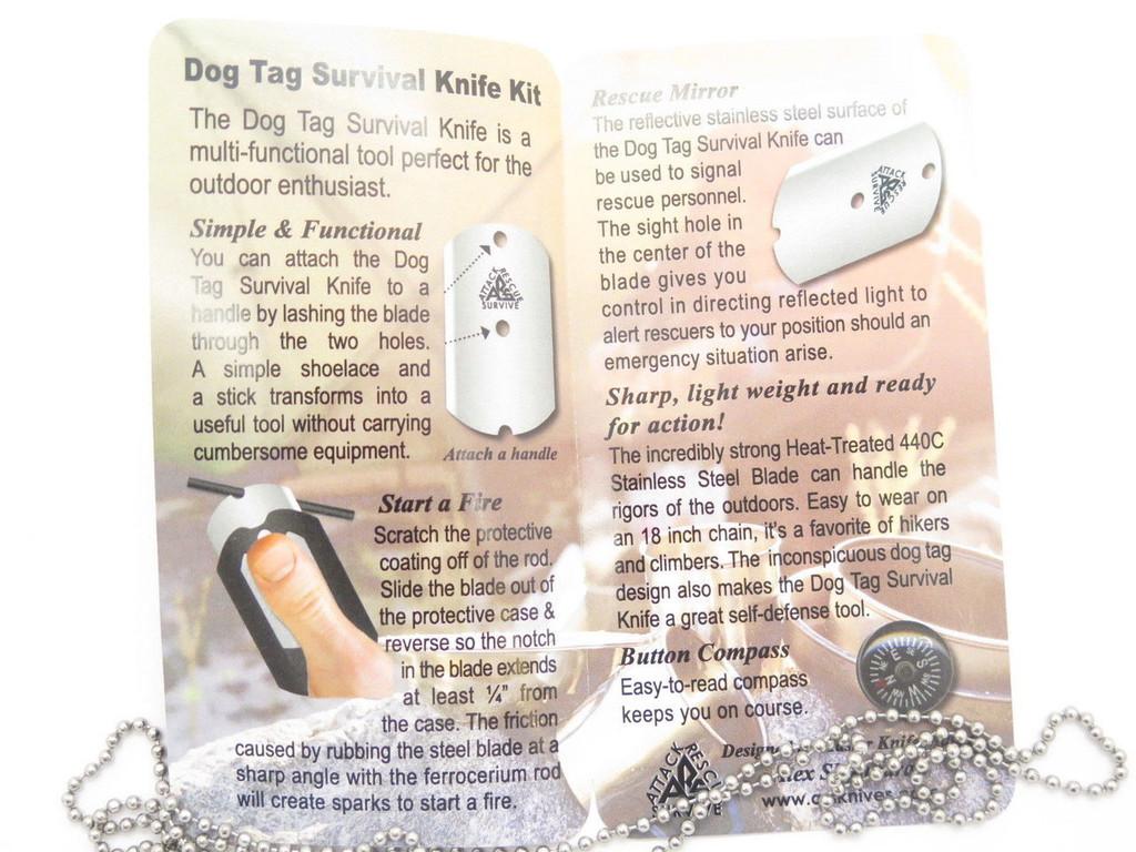 ARS USA BLACK MILITARY ID DOG TAG KNIFE EMERGENCY SURVIVAL SIGNAL COMPASS FIRESTARTER KIT