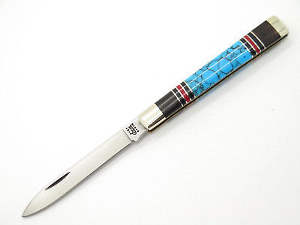 2001 CASE XX 3185 DOCTOR FOLDING POCKET KNIFE EXOTIC CUSTOM WOOD TURQUOISE