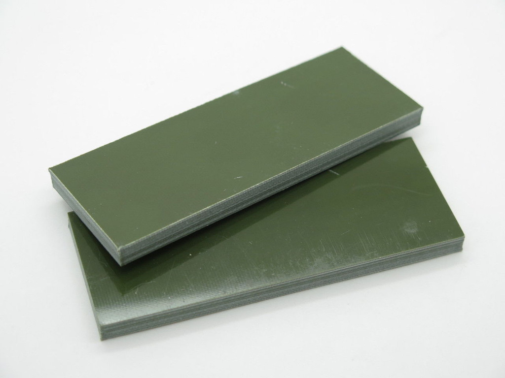 2 pcs G10 1/4 OLIVE OD GREEN SCALE SLAB KNIFE MAKING HANDLE MATERIAL BLANK