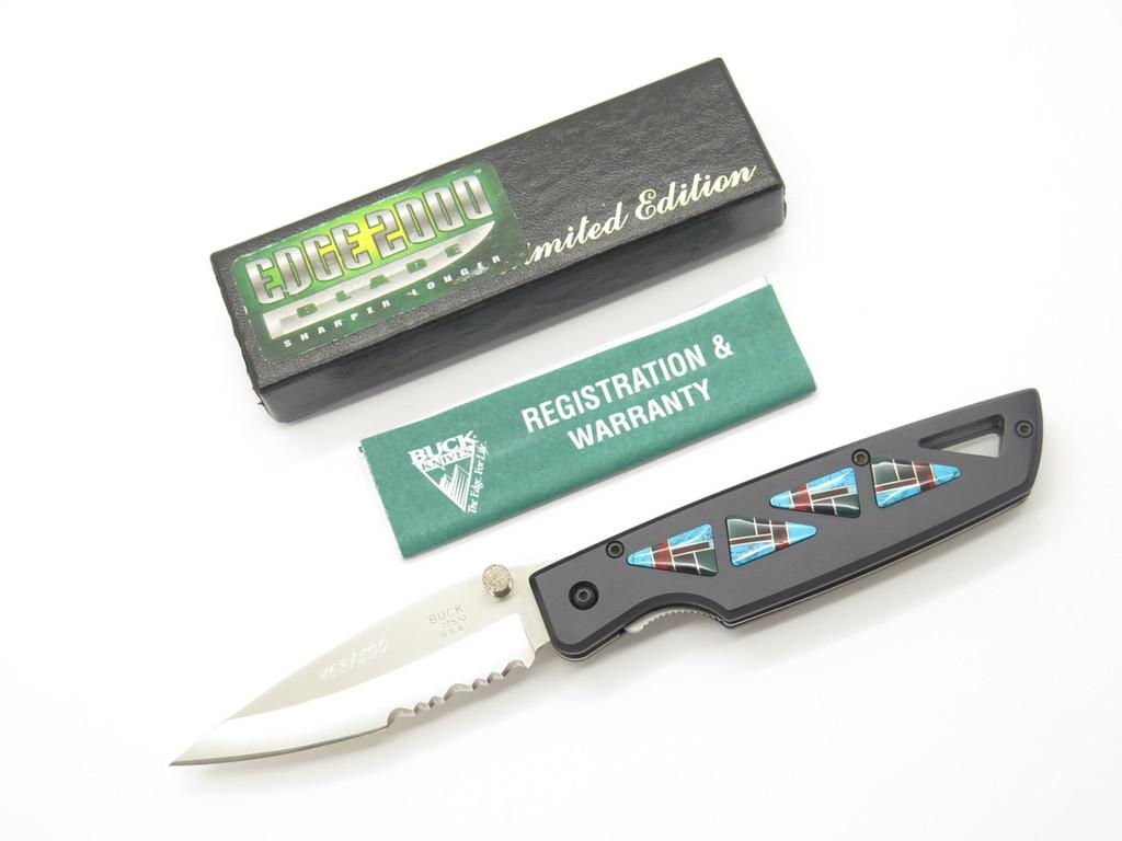 1998 BUCK CUSTOM 175 LIGHTNING LIMITED EDITION STONE INLAY FOLDING POCKET KNIFE