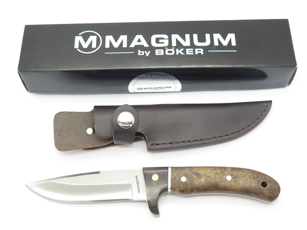 BOKER MAGNUM 02GL683 FIXED BLADE 440 STAINLESS HUNTING KNIFE & LEATHER SHEATH