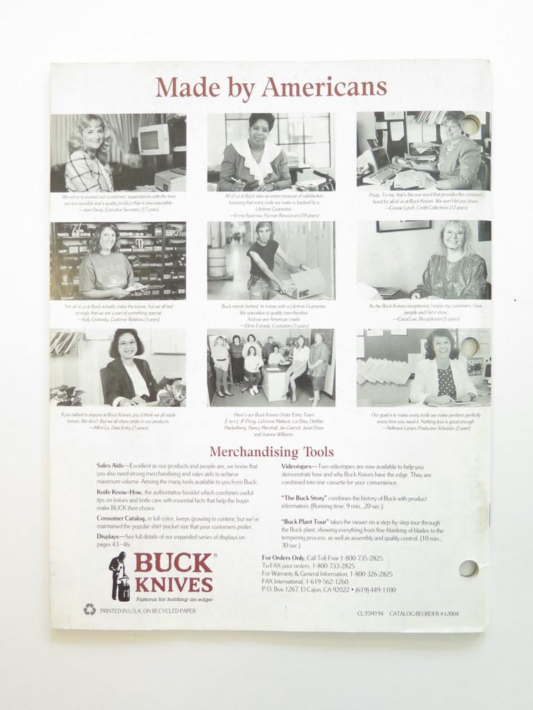 1995 BUCK DEALER KNIFE CATALOG PRICE LIST BOOK FIXED FOLDING 110 124 119 184